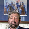 Sam Grant, who re-enact Gen. Ulysses S. Grant, talks about it at his home in Townsend MA. SENTINEL & ENTERPRISE/JOHN LOVE
