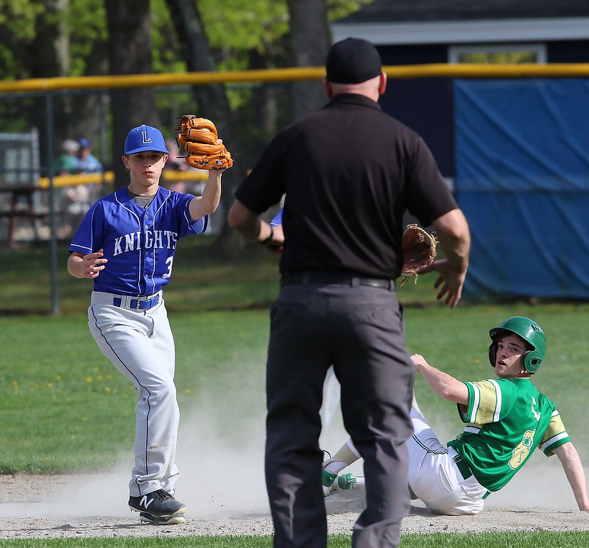 . Lunenburg Middle High School baseball player Nick Oullette  and Clinton High School player George Kehn look to the umpire for the call, which was out, during their game on Friday afternoon in Lunenburg at Marshall Park. SENTINEL & ENTERPRISE/JOHN LOVE