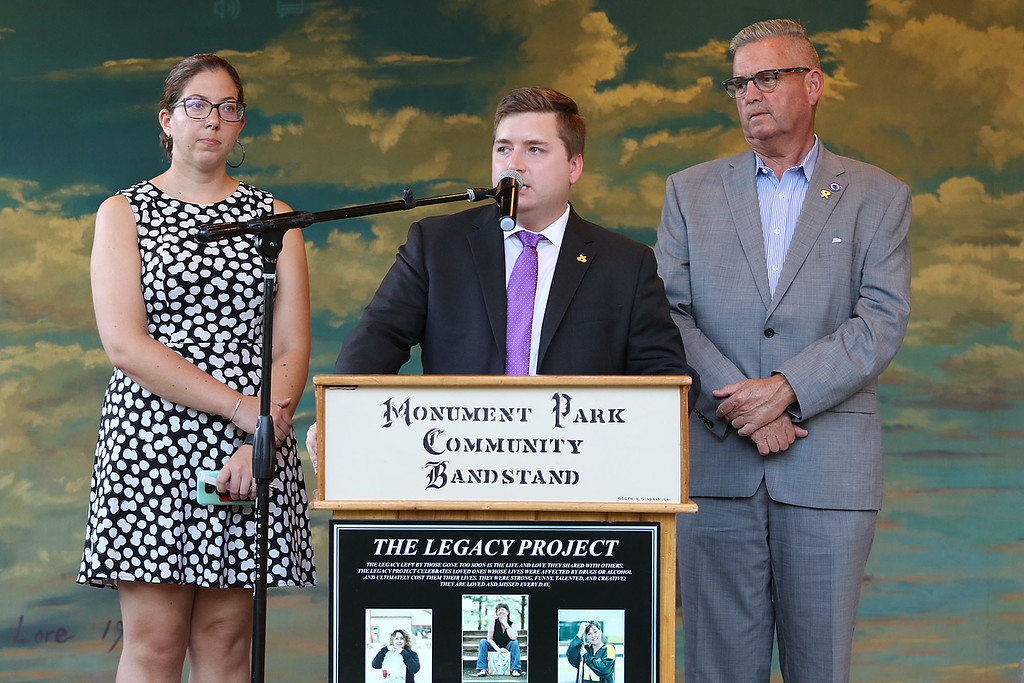. International Overdose Awareness Day was observed for North Central MA Wednesday night in Gardner at Monument Park. State Rep Natalie Higgins from Leominster and Stephan Hay from Fitchburg Listen to their fellow State Rep from Gardner Jon Zlotnik as he addresses the crowd at the vigil. SENTINEL & ENTERPRISE/JOHN LOVE