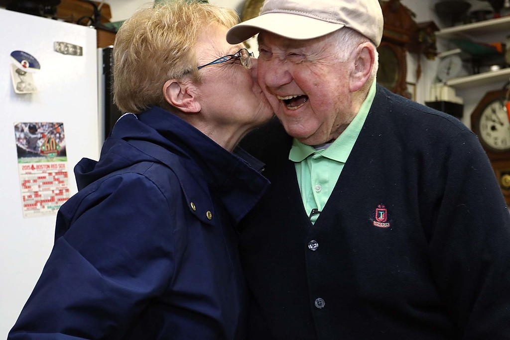 . A 90th birthday party was held for Settimio Firmani at Don\'s Diner in Leominster on Tuesday morning. The staff of the diner said he comes everyday to eat. Firmani gets a kiss from Carolyn Millette as she chatted with him at the party. SENTINEL & ENTERPRISE/JOHN LOVE