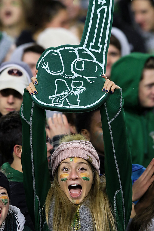. A Nashoba Regional High School Fan holds up a foam finger as she cheers for his team during the Superbowl game against Dighton-Rehoboth Regional High School at Gillette Stadium in Foxborough on Friday night, November 30, 2018. SENTINEL & ENTERPRISE/JOHN LOVE