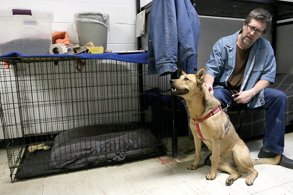 ". Worcester County Jail inmate Theron Oldenburg hangs out in his cell with Giselle one of the three dogs they have at the jail in the ""Project Good Dog Program.\"" SENTINEL & ENTERPRISE/JOHN LOVE"