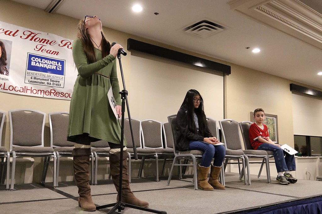 . First place winner of the 2018 North Central Massachusetts Regional Spelling Bee on Tuesday night at the Doubletree Hotel by Hilton in Leominster, Homeschooler Torah Smith tries to think about spelling her second to last word. SENTINEL & ENTERPRISE/JOHN LOVE