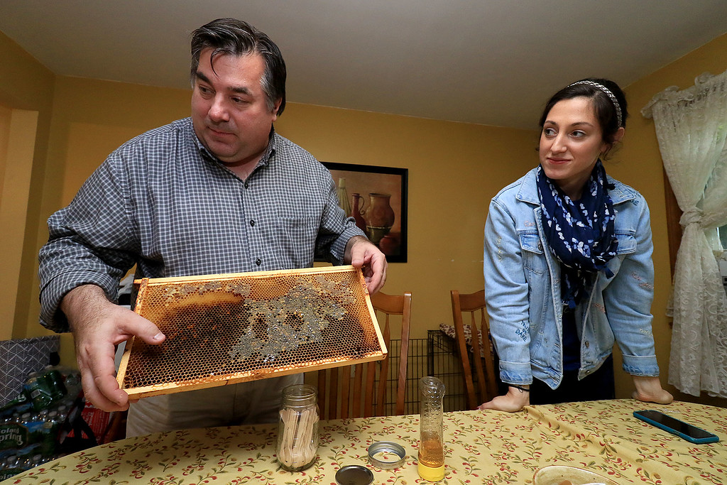 . Michael Fontaine takes about bees and how he collects honey from all his hives on Friday afternoon at his home in Leominster. Here he shows off a honeycomb and next to him is his daughter Sarah Fontaine. SENTINEL & ENTERPRISE/JOHN LOVE