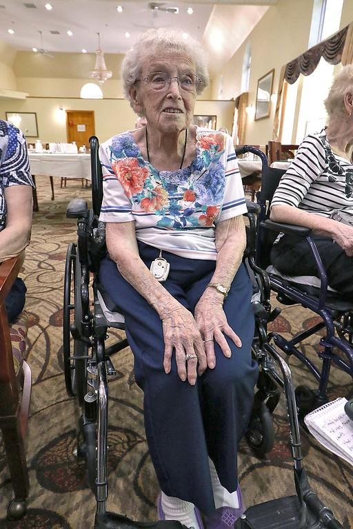. Norma Schofield, a resident of Manor On the Hill in Leominster, was given the Boston Post Cane on Tuesday by the city as the oldest person. She will be turning 105 soon. SENTINEL & ENTERPRISE/JOHN LOVE