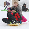 The hill next to Cherry Hill Ice Cream in Lunenburg is a great place to have fun on a snow day. Looking like they were having a ton of fun on the hill is, from front to back, Garrett Noon, 12, from Townsend, Finn McNabb, 11, from Townsend and Rebecca Noon, 10, from Townsend. SENTINEL & ENTERPRISE/JOHN LOVE