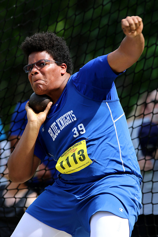. Lunenburgl High School Sophomore Joe Rivers competes in the shot Putt during the All State Meet at Elliot Field Athletic Complex at Fitchburg State University on Saturday, June 2, 2018. SENTINEL & ENTERPRISE/JOHN LOVE