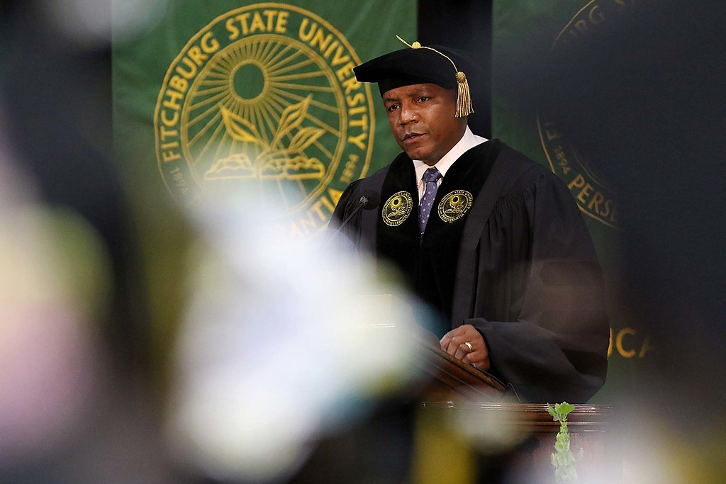 . The 122nd annual Fitchburg State University Commencement was held on Saturday, May 19, 2018 in the university\'s Recreation Center. Brigadier General Frederick A. Henry gave the commencement address at the ceremony. SENTINEL & ENTERPRISE/JOHN LOVE