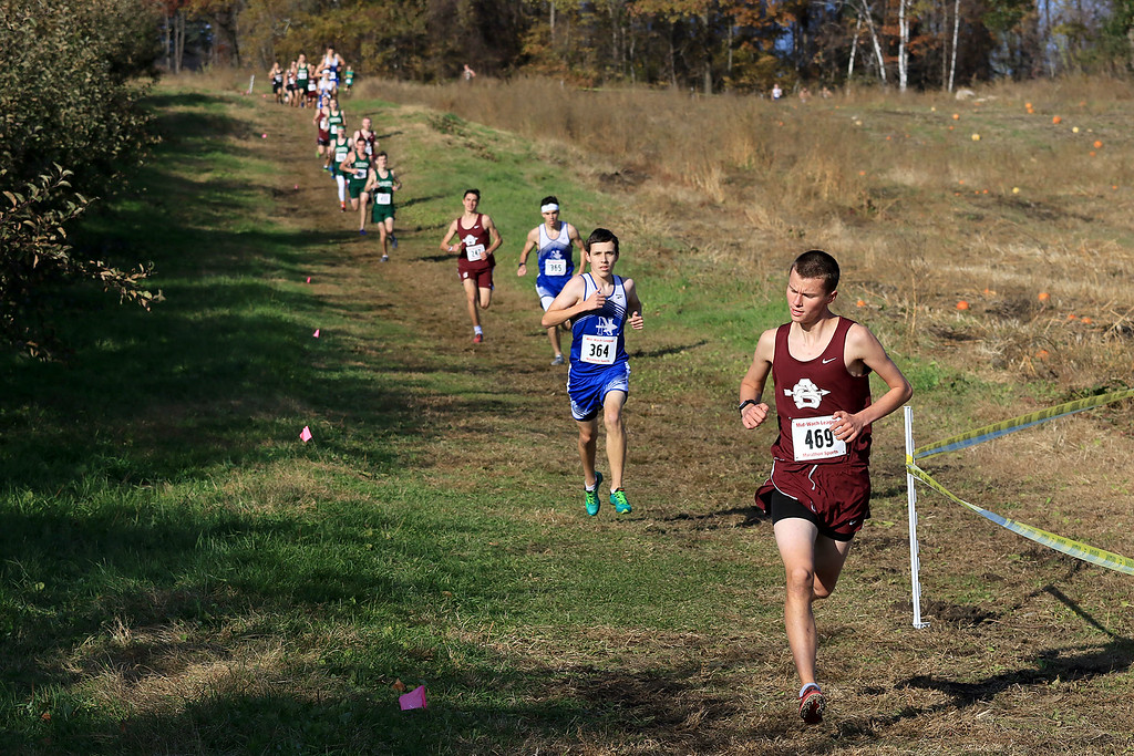 . Mid-Wach E boys cross country championships was held at Hollis Hills Farm in Fitchburg on Wednesday afternoon, October 31, 2018. Ayer Shirley Regional High School Runner Will Schilp competes in the race. SENTINEL & ENTERPRISE/JOHN LOVE
