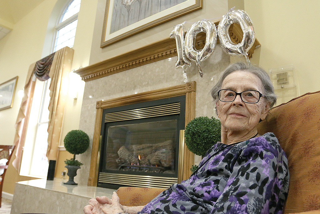 . Eunice Wiles turned 100 on Tuesday, January 23, 2018 and had a birthday party at the Manor On the Hill in Leominster where she now lives. SENTINEL & ENTERPRISE/JOHN LOVE