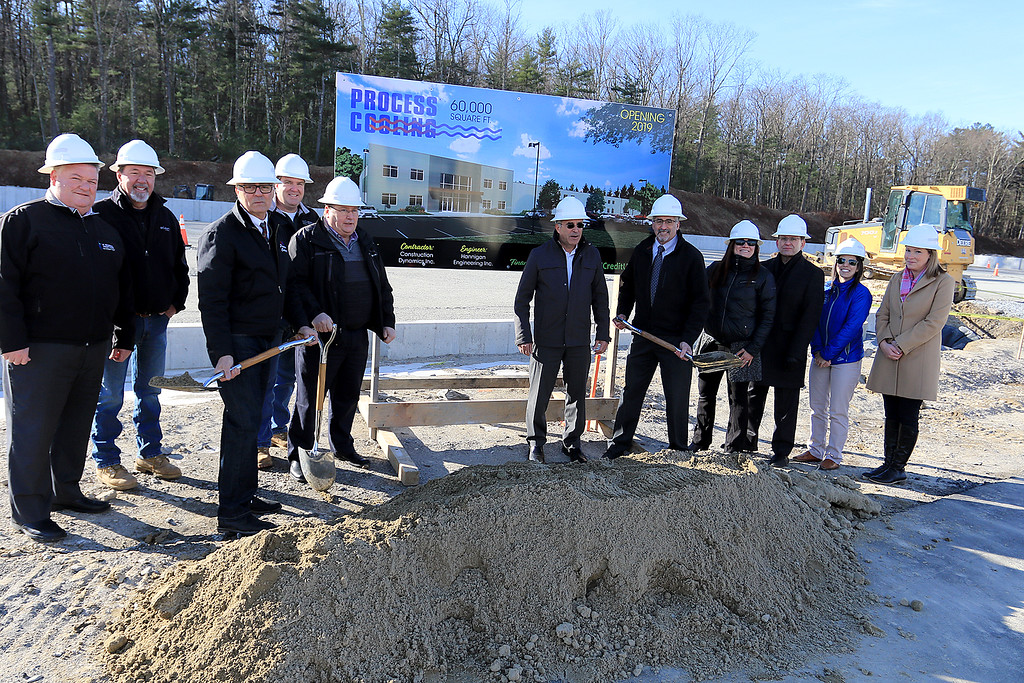 . A groundbreaking was held on Wednesday morning, December 19, 2018 for the new business expansion construction for Process Cooling in Leominster at Southgate Park. From left is Bruce Mathieu the senior vice president of business development office at IC Federal Credit Union, Don Dodeck the president of Construction Dynamics, Dave Dufresne partner with Process Cooling Systems, Matt O\'Toole Project manager with Construction Dynamcs, Ted Rudy president of Process Cooling Systems, Leominster Mayor Dean Mazzarella, Elizabeth Wood Leominster\'s Director of Planning and Development, Phil Richards senior vice president for IC Federal Credit Union,  Leominster Small Business Coordinator Melissa Tasca and Nikki Peters Leominster\'s Economic Development Coordinator. SENTINEL & ENTERPRISE/JOHN LOVE