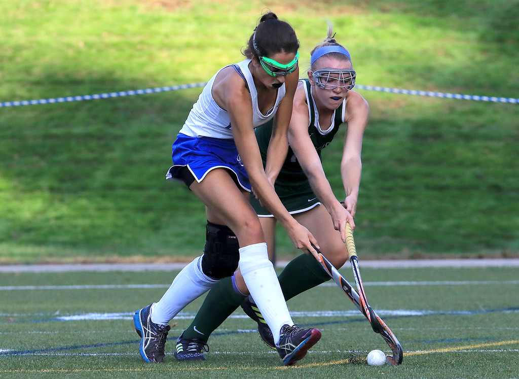 . Wachusett High School field hockey team visited Doyle Field in Leominster on Wednesday to play Leominster High School. Leominster\'s Skylar Finnegan and WHS Kathleen Sawyer fight for control of the ball. SENTINEL & ENTERPRISE/JOHN LOVE