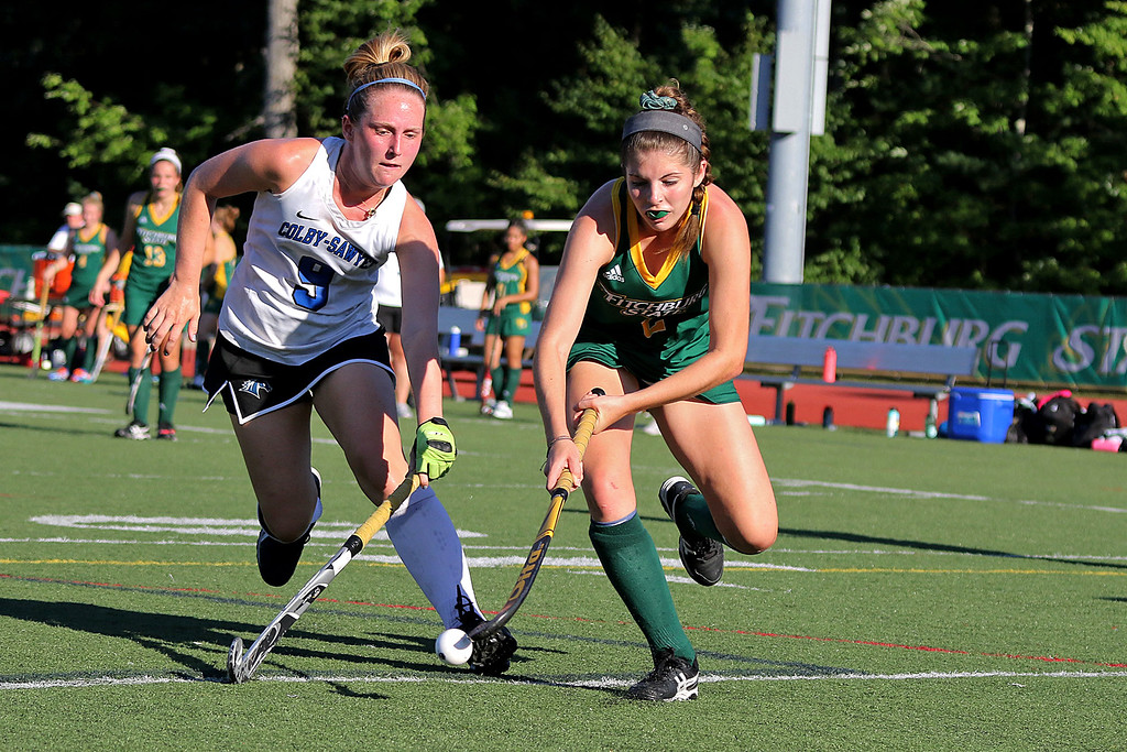. Fitchburg State University women\'s field hockey team played Colby-Sawyer on Wednesday afternoon at Elliot Field Athletic Complex in Fitchburg. FSU Sarah Craig Fires the ball toward the goal as Colby-Sawyer player Julia Lanctot tries to stop her. SENTINEL & ENTERPRISE/JOHN LOVE