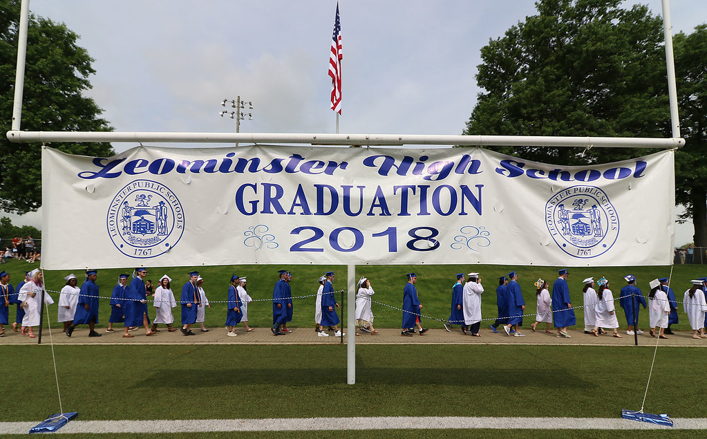 . Leominster high School class of 2018 held their 148th commencement on Saturday, June 2, 2018. Graduates march onto the football field to start the ceremony. SENTINEL & ENTERPRISE/JOHN LOVE