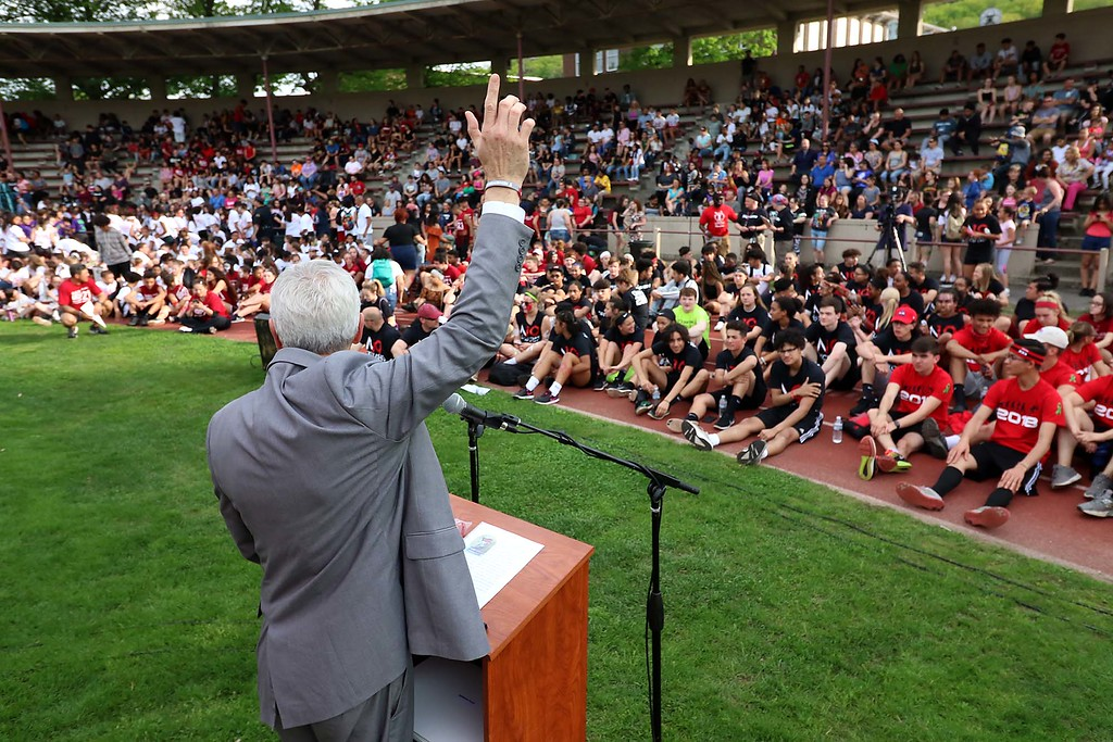 . 104th running of the Junior-Senior Relays were held at Crocker Field in Fitchburg, May 17, 2018. This year is also the 100th anniversary of the opening of Crocker Field. SENTINEL & ENTERPRISE/JOHNLOVE