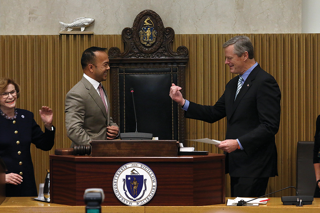 . Dean Tran makes everyone laugh as he asks if Gov. Charlie Baker could step down a step so he could look him in the eye as he gave him the oath of office as the next Worcester and Middlesex senator. Even Baker laughed as he stepped down a step. SENTINEL & ENTERPRISE/JOHN LOVE