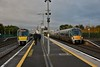 22024 flies past Hazelhatch on the Up Fast with the 0550 Cork - Heuston as 22013 waits to depart with the 0815 to Grand Canal Dock. Thurs 04.10.18