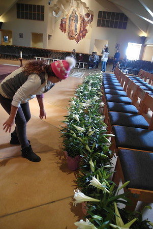 03-31-18 Decorating church for Easter