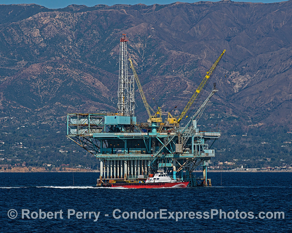 "Offshore oil and gas platform ""A"" with crew and supply boat ""Alan T"" off the coast of Santa Barbara."