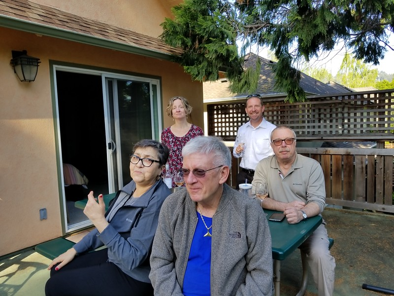 NANDA, WARREN, HEATHER, MIKE, LEO; ON THE PATIO OF OUR RENT HOUSE