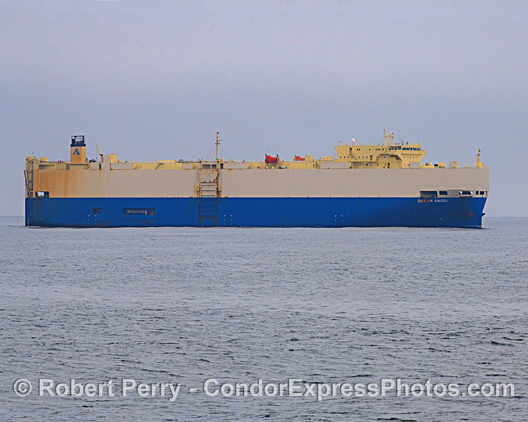 """The car carrier """"Dream Angel"""" is shown in the southbound shipping lane of the Santa Barbara Channel.  This Ro/Ro ship is operated by Nissan."""