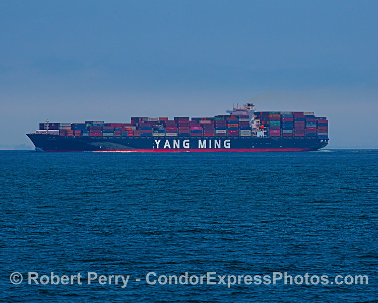 Container cargo ship YM Unicorn heading north in the Channel.