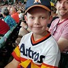 ZACHARY & MIKE AT THE ASTROS VERSUS A'S GAME--NOTICE THE ASTROS HAT AND SHIRT