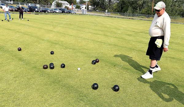 Dan Gilgan watches as a bowl rolls in during a lawn bowling game Tuesday morning at Prince George Lawn Bowling club. The club plays Tuesdays at 10am, Wednesday at 7pm, Thursdays at 1pm and Sundays at 2pm. New players and beginers are always wlcome. Citizen photo by Brent Braaten   July 24 2018