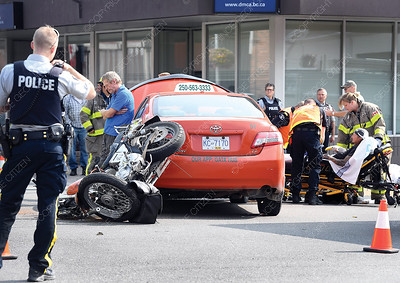 A accident between a taxi and a motorcycle Tuesday morning at 7th Avenue and Brunswick Street. The motorcyclist was taken to hospital.  July 24 2018