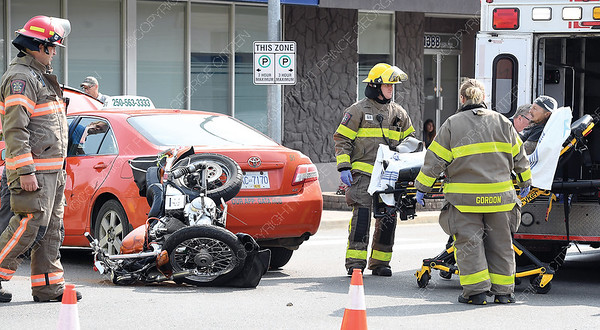 An accident between a taxi and a motorcycle Tuesday morning at 7th Avenue and Brunswick Street. The motorcyclist was taken to hospital. No injuries to the cab driver.  July 24 2018