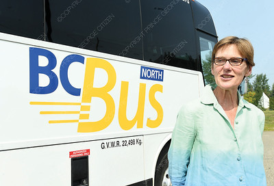 Claire Trevena, Minister of Transportation and Infrastructure was in Prince George Wednesday to speak about the newly launched BC Bus North service.   Citizen photo by Brent Braaten   July 25 2018