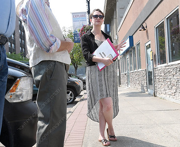 Cecilia Larson, Cultural Herritage Assistant at the Prince George Public Library leads a historic tour of downtown Prince George Thursday. The free walking tours are on Tuesdays and Thursday starting at the Bob Harkins branch of the Prince George Public library at 11 am. Citizen photo by Brent Braaten   July 26 2017