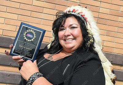 Wrestling legend Delta Dawn  with her award of recognition from All Star Wrestling.  July 27 2018