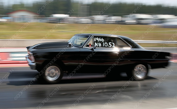 John Van Capelle of Williams Lake, BC races off the start line during qualifying races of the Big Bux Shoot-Out drage race meet on Saturday at NITRO Motorsports Park. Citizen Photo by James Doyle       July 28, 2018