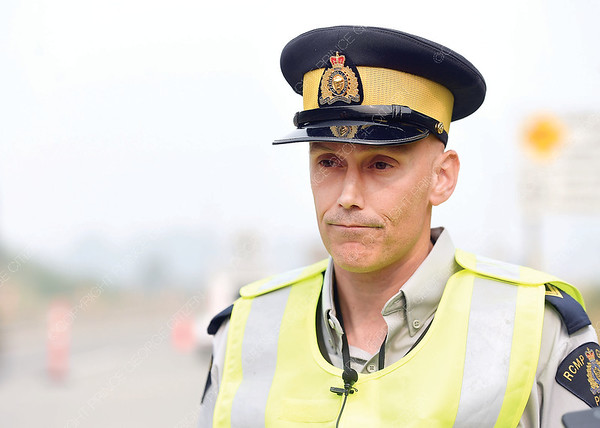 Cpl. Craig Douglass speaks to the media about speeding through construction zones. Aug 22 2018