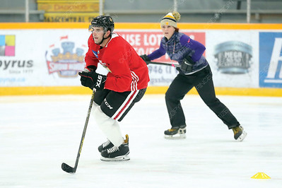Chicago Blackhawks defenceman and Prince George native Brandon Manning works with skaing coach Andrea Ludditt on Wednesday afternoon at Rolling Mix Concrete Arena. Citizen Photo by James Doyle        August 22, 2018