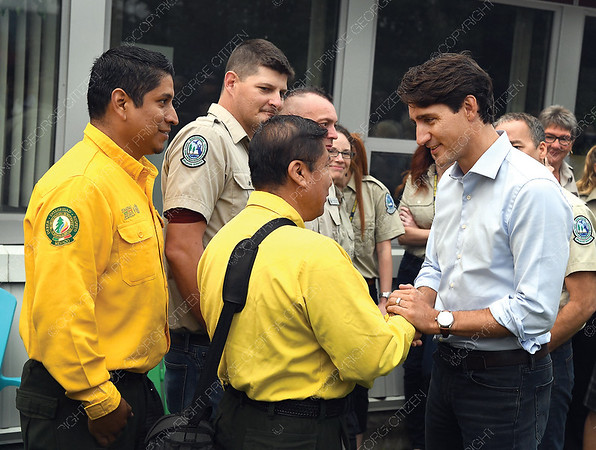 Prime Minister Justin Trudeau meets Mexican wildfire fighters in Prince George Thursday morning. Citizen photo by Brent Braaten   Aug 23 2018