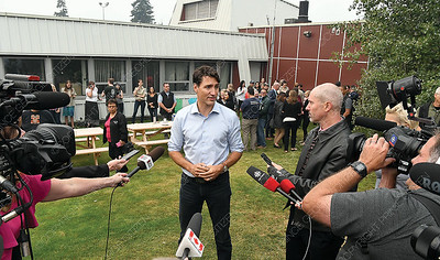 Prime Minister Justin Trudeau speaks to the media in Prince George Thursday morning. Citizen photo by Brent Braaten   Aug 23 2018