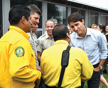 Prime Minister Justin Trudeau greats Mexican wildfire fighters in Prince George Thursday morning. Citizen photo by Brent Braaten   Aug 23 2018