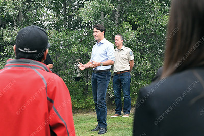 Prime Minister Justin Trudeau speaks to fire officials in Prince George Thursday morning. Citizen photo by Brent Braaten   Aug 23 2018