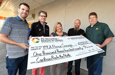 Waste Management presented a cheque for $1,370.55 to the Family Y Monday morning. The proceeds coming from the recycled cans retrieved at Cariboo Rocks the North 2018. Left to right Kyle Sampson, Pacific Western Brewing, Glen Mikkelsen, manager CN Centre, Stephanie Mikalishen- Deol, Family Y, Ken Ziemer, manger PG Return-it Centre and Scott Dobie with Waste Managment. Aug 27 2018