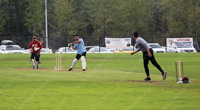 A player readies to make contract with the ball on Sunday afternoon at PGSS fields during a cricket tournament hosted by the Prince George Cricket Club. Citizen Photo by James Doyle       August 26, 2018