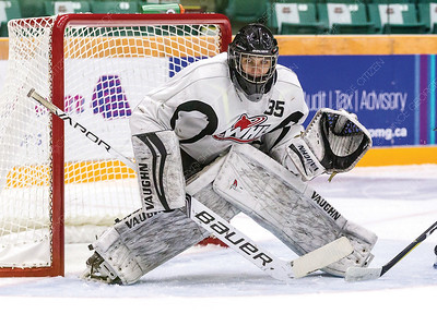 Prince George Cougars prospect goaltender Tyler Brennan focuses on the puck during a training camp scrimmage on August 24th at CN Centre. Citizen Photo by James Doyle         August 24, 2018