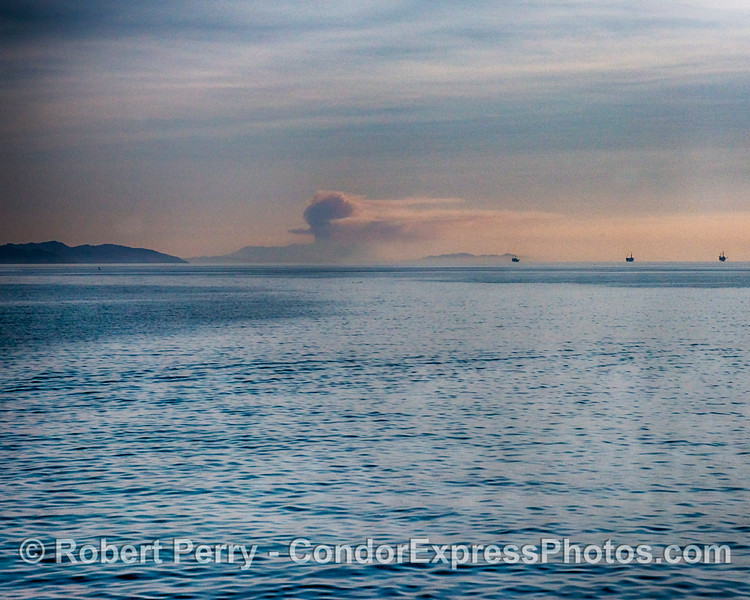 Smoke rises like a mushroom cloud over the devastating Woolsey fire as we look east down the Santa Barbara Channel towards Bony Ridge and Point Mugu.