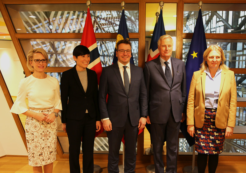 From left: Ms Aurelia Frick, Minister of Foreign Affairs of Liechtenstein, Ms Ine Marie Eriksen Søreide, Minister of Foreign Affairs of Norway, Mr Guðlaugur Þór Þórðarson, Minister of Foreign Affairs of Iceland, Mr Michel Barnier, Chief Brexit Negotiator of the EU, Ms Karin Kneissl, Minister of Foreign Affairs of Austria.