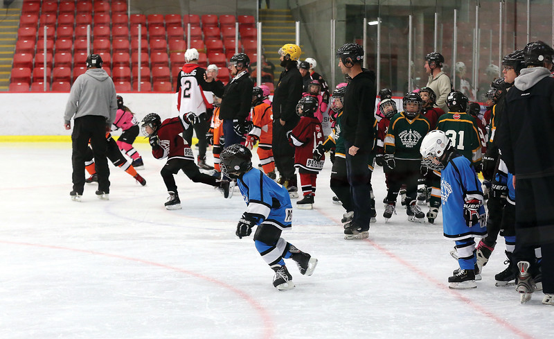 Skaters participate in a relay race on Wednesday at Kin 1 as part of Prince George Minor Hockey Association's Skate-A-Thon. Roughly 50 skaters took part in the event. Citizen Photo by James Doyle        November 21, 2018