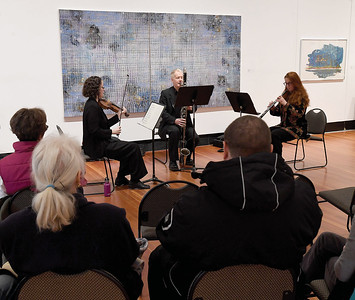 Alban Classical presented 'about town at the Two Rivers Gallery' a free concert over the lunch hour Thursday featuring Allison Bell - violin, left, Alban Classical Presents about town at the Two Rivers Gallery A free concert on Thursday November 22, 2018 at 12 noon featuring Allison Bell, left (violin), Simon Cole, centre, (clarinet) and  Erica Skworon (oboe). Citizen photo by Brent Braaten
