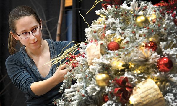 """Emily Bornestig keeps a keen eye as she places orniments on the Enchainement Dance Centre tree """"A Christmas Carol"""" at the 25th annual Festival of Trees at the Civic Centre. The festival opens to the public on Saturday. Citizen photo by Brent Braaten"""