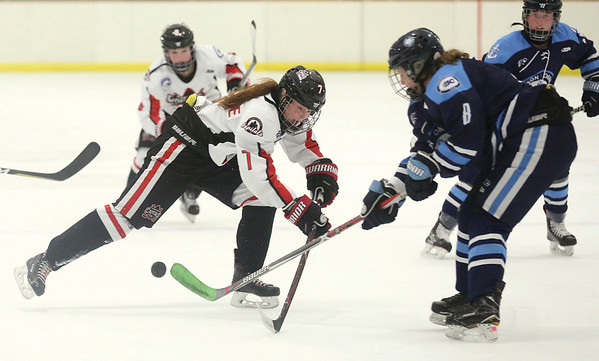 Northern Capitals forward Paige Outhouse battles for the bouncing puck against Thompson Okanagan Lakers defender Makenna Howe on Satruday afternoon at Kin 1 in the second of three weekend games between the two teams. Citizen Photo by James Doyle        November 24, 2018