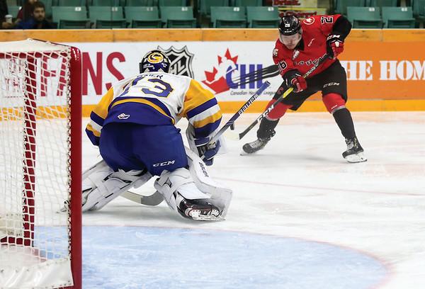 Prince George Cougars forward Reid Perepeluk puts a shot on goal against Saskatoon Blades goaltender Nolan Maier on Saturday night at CN Centre. Citizen Photo by James Doyle      November 24, 2018